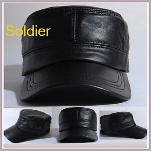 Military-Hat-GENUINE-LEATHER-Cadet-Mens-leather-Cap-Unisex-Ballcap