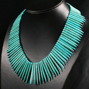 5-50mm BLUE HOWLITE TURQUOISE SPIKE BEADS NECKLACE 18