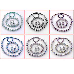 6-Colors-Faceted-Crystal-Glass-Round-Flower-Beads-Necklace-Bracelet-Earring-Set
