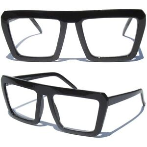 FLAT-TOP-BLACK-FRAME-CLEAR-LENS-HIPSTER-NERD-RETRO-WAYFARER-STYLE-GLASSES-NEW