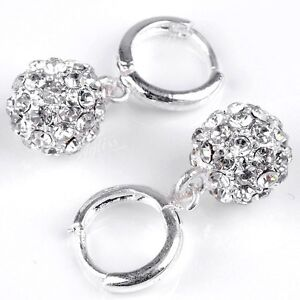 2p-Clear-Crystal-Rhinestone-Silver-Plated-Round-Ball-Bead-Huggie-Dangle-Earrings