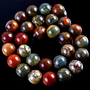 Natural-Picasso-Jasper-Round-Gemstone-Beads-Strand-14mm