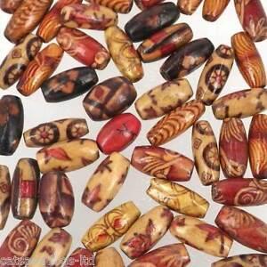 50-x-Mix-cuentas-de-madera-varios-disenos-15x7mm-Nuevo-Arroz-etnicos-W266