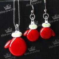 Christmas Santa Gloves Murano Lampwork glass Pendant + Earrings