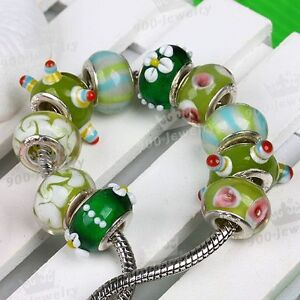 10PC-Mix-Green-Cute-Point-Lampwork-Glass-European-Bead-Large-Hole-Charm-Fit-DIY