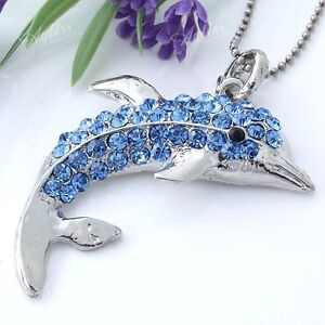 Silver Plated Blue Crystal Rhinestone Dolphin Bead Charm Pendant for Necklace