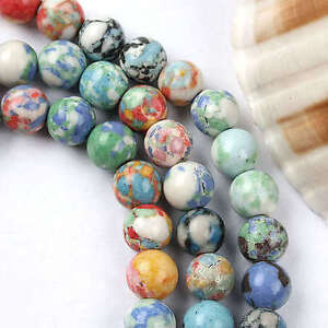 8mm Multicolor Howlite Turquoise Round Loose Beads 15