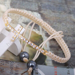 clear-crystal-pave-gold-tone-cross-beige-cord-string-bracelet-hand-knotted