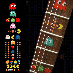 Pacman Fret Markers Inlay Sticker Decal Guitar Bass