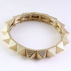 Gold-Tone-Pyramid-Rivet-Spike-Women-Bracelet-Bangle-Elastic-Punk-Rock-Cuff