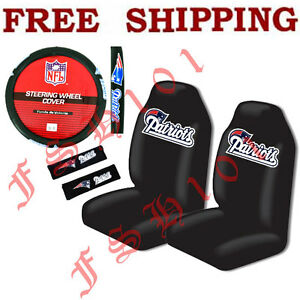 new nfl new england patriots seat covers steering wheel cover belt covers set. Black Bedroom Furniture Sets. Home Design Ideas