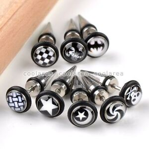 8x-Mix-Black-18G-Mens-Spike-Taper-Screw-Earring-Ear-Studs-Punk-Stainless-Steel