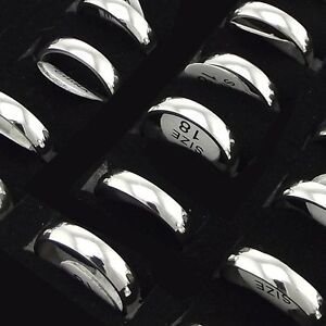 wholesale lot 30pcs 4mm polish stainless steel ring for men & women #6.5-#11