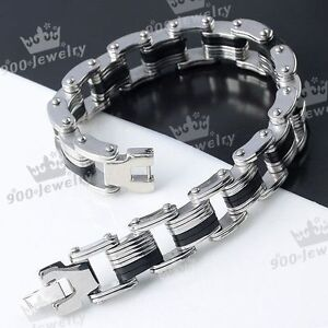 1PC-Mens-Silvery-Stainless-Steel-Locks-Style-Rubber-Bracelet-Wristband-Gift-8-L