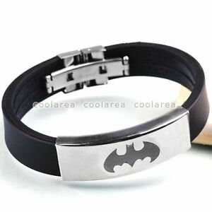 Stainless-Steel-Bat-Batman-Vampire-Logo-Black-Rubber-Wristband-Bangle-Bracelet