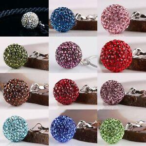 AUSTRIAN-Crystal-Birthstone-925-Sterling-Silver-GEM-DISCO-14MM-Ball-Pendant-Bead