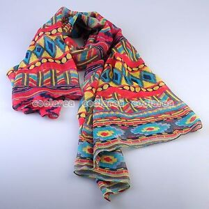 New-TRIBAL-AZTEC-Boho-Flower-Soft-Long-Scarf-Beach-Wrap-Shawl-Women-Fashion