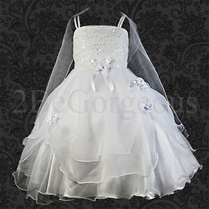 Wedding Flower Girl Bridesmaid Party Communion Occasion Dresses Age 2-9 Year 008