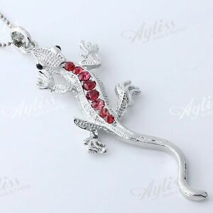 1PC-Silver-Plate-Crystal-Lizard-Bead-Focal-Pendant-For-Necklace