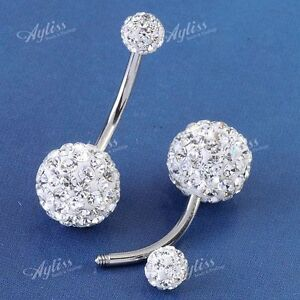 1PC 14G Clear Czech Crystal Belly Navel Ring Stud Stainless Steel Piercing AD578