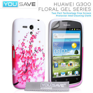 Accessories For The Huawei Ascend G300 Floral Bee Silicone Gel Case Cover & Film