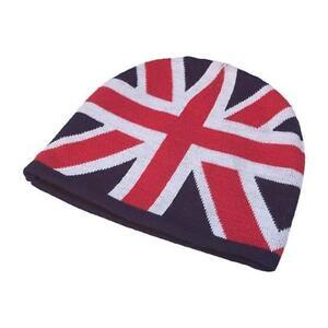 Union Jack Knitted Beanie Hat Mens Ladies England UK Olympic Flag Skull Ski Cap