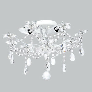 Flush Mount Chandelier Jewels White Bedroom Bathroom Light Fixture Lighting New