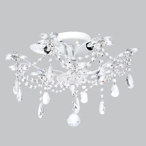 Flush mount chandelier jewels white bedroom bathroom light fixture lighting new Bathroom light fixtures ceiling mount