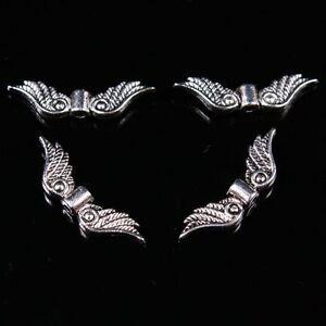 100pc Tibetan Silver Angel Wings Metal Loose Spacer Beads Jewelry Making Finding