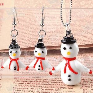 Christmas Snowman Murano Lampwork glass Pendant + Earrings