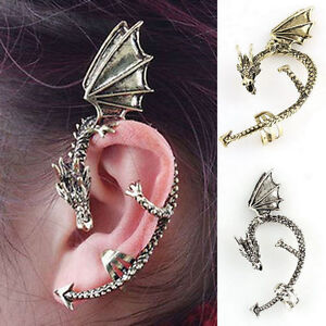 Retro-Gothic-Temptation-Punk-Rock-Wrap-Twist-Fly-Dragon-Cuff-Ear-Clip-Earrings