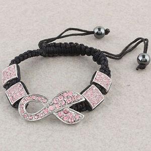 Pink Crystal Rhinestone Breast Cancer Ribbon Bracelet