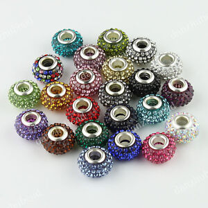 23 COLORS CRYSTAL RESIN EUROPEAN BLACK CHARM BEAD FITS BRACELET WHOLESALE LOTS