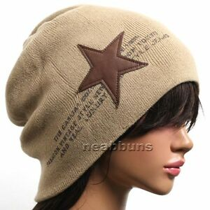 men-women-Unisex-chic-Baggy-BEANIE-oversize-slouchy-Knit-ski-Hat-Skull-Cap-star