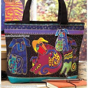 Laurel Burch Dancing Dogs Doggies Puppy Med Small Tote Hand Bag 2073