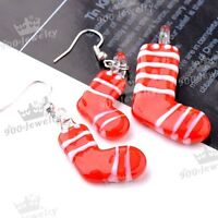Christmas Stockings Murano Lampwork glass Pendant + Earrings