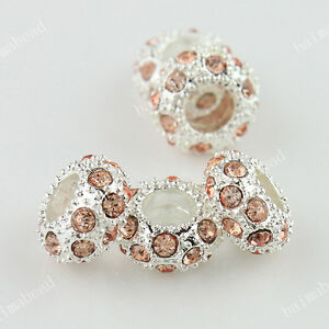 CRYSTAL RHINESTONE EUROPEAN SPACER LOOSE BEADS FIT CHARM BRACELET WHOLESALE