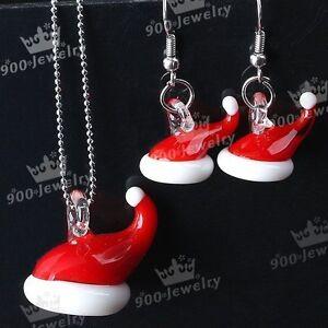 Christmas Santa Hats Murano Lampwork glass Pendant and earrings