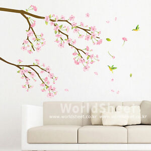 Pink-Japanese-Apricot-Flower-Home-Decor-Mural-Art-Removable-Wall-Sticker-KR-67
