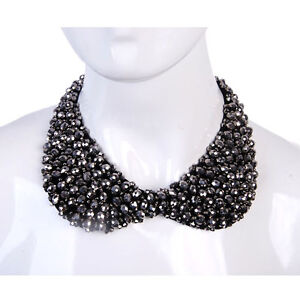 Peter Pan Faux Pearl Crystal Choker Lace Collar Detachable Wrap Necklace 9 style