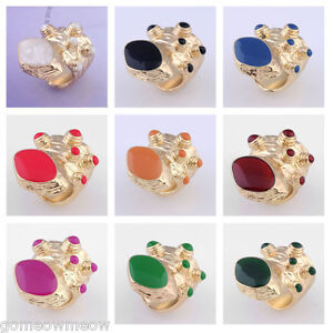 Arty-Dots-Enamel-Beads-Cocktail-Party-Finger-Ring-Golden-Tone-Chunky-Armour-New