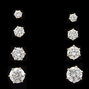 lot 4pairs(3,4,5,6mm) 18k gold GP round CZ stone 6 prong set stud earrings