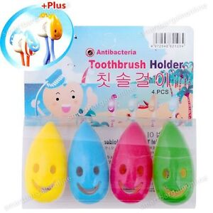 4 PCS Smile Face Antibacterial Toothbrush Cover Holder with Suction Cup Bath