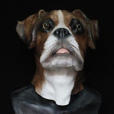 Boxer Hund Maske Latex Hunde Kostüm Halloween Haustier Voller Kopf B (Hund Halloween Maske)
