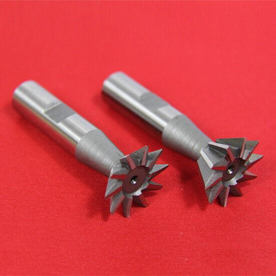 "2 Pc 3/8"" X 45° & 3/8"" X 60° Dovetail Cutter Set High Speed Steel HSS Milling"