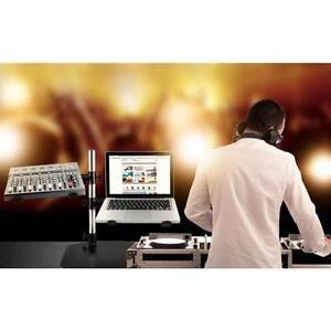 PYLE PLPTS45 Dual Arm Universal DJ Laptop,a Mixer and Studio Equipment Holder Stand