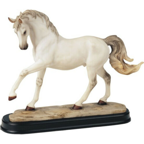 "White Horse Figurine Statue Resin 10.5"" Long - Highly Detailed - New In Box"