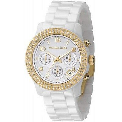 Michael Kors Runway MK5237 Gold-Ton White Ceramic Crystal Glitz Women Watch