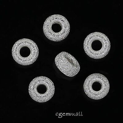 10 Sterling Silver Stardust Rondelle Heishi Spacer Beads 4.3mm #51513