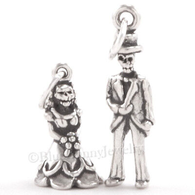 3D BRIDE GROOM WEDDING SKELETON 925 Sterling Silver HALLOWEEN Charm set small - 3d Halloween Charms